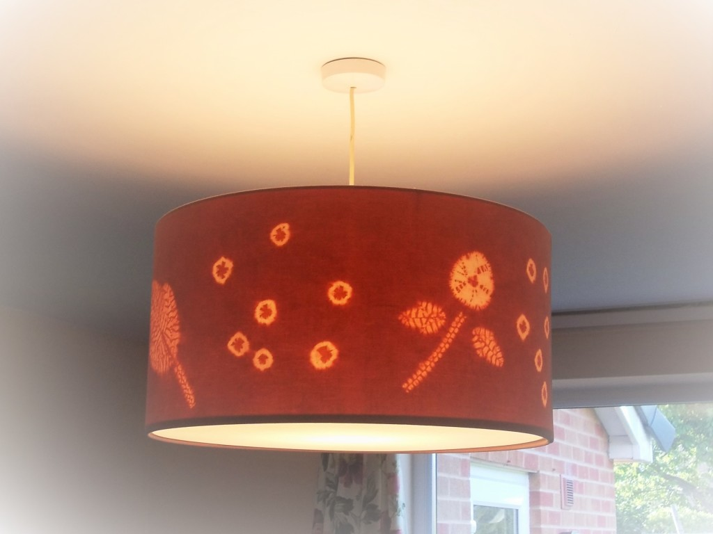 The completed drum lampshade