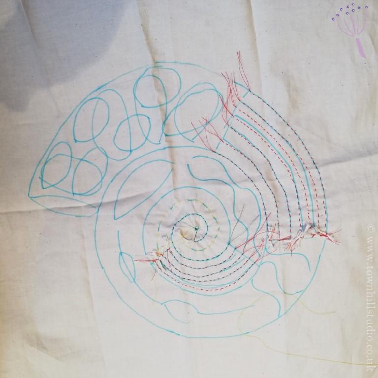 shibori ammonite stitching 1