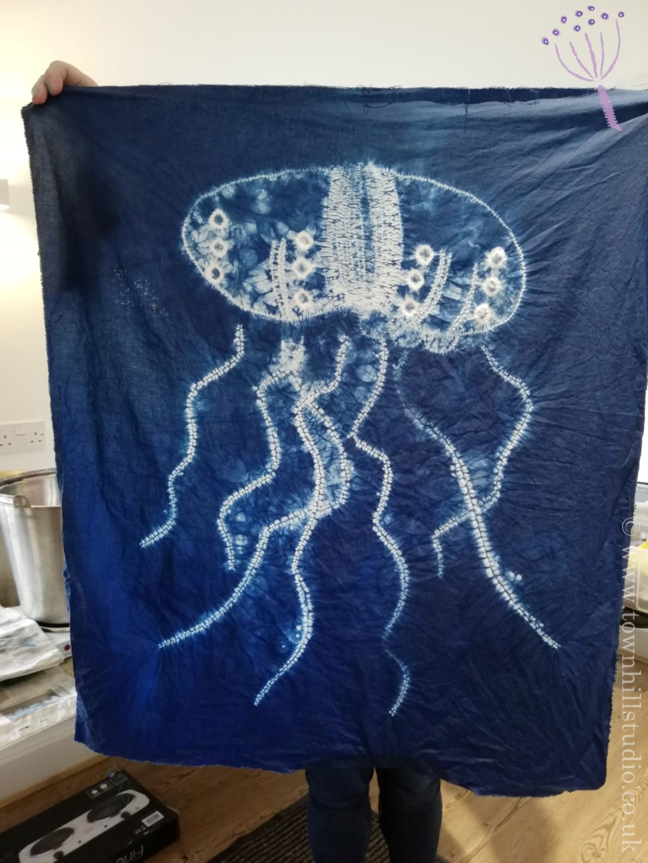 shibori stitch resist jellyfish